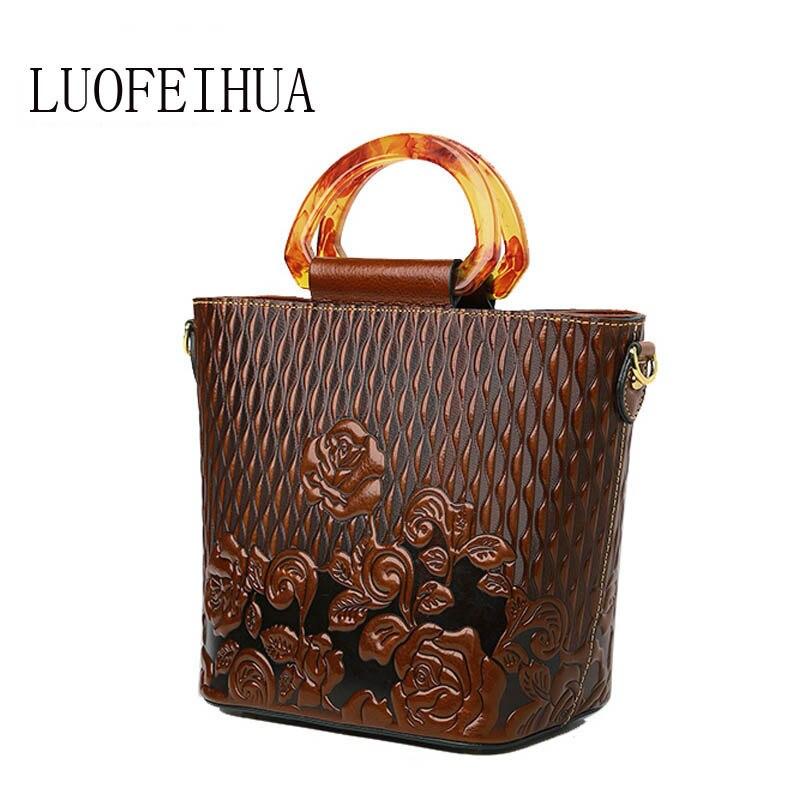 Женские сумки из натуральной кожи для женщин 2019 Новая роскошная Ретро тисненая сумка брендовая сумка женская дизайнерская сумка