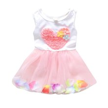 цена на Summer Flower Girl Princess Dress Baby Kid Party Wedding Pageant Tulle Tutu Dresses