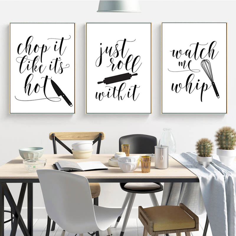 Cooking with Love font b Kitchen b font Quote Wall Art Prints and PosterJust Roll with