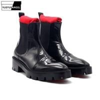 Ботинки Челси из натуральной кожи для мужчин Роскошные однотонные черные увеличивающие рост ботильоны Высокое качество зимние ботинки без