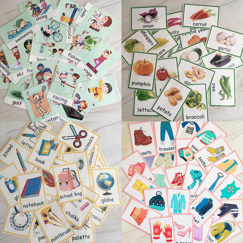91Pcs/Set Sports/Stationery/Vegetables/Clothing Learning English Flash Cards for Children Montessori Educational Toys Card Gift