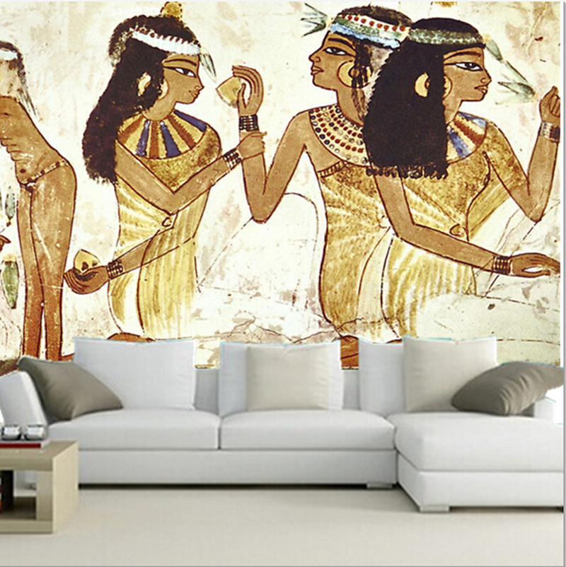 Custom 3D large mural, 3D the ancient Egyptian maid murals  papel de parede ,living room sofa TV wall  bedroom wall paper custom 3d large mural china style meilanzhuju woodcarving murals papel de parede living room sofa tv wall bedroom wall paper