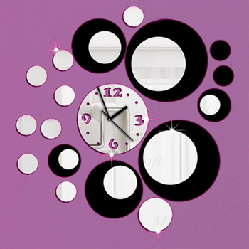새로운 도착 2018 직접 판매 아크릴 벽시계 3d 홈 장식 diy 크리스탈 쿼츠 블랙 시계 아트 시계 무료 배송