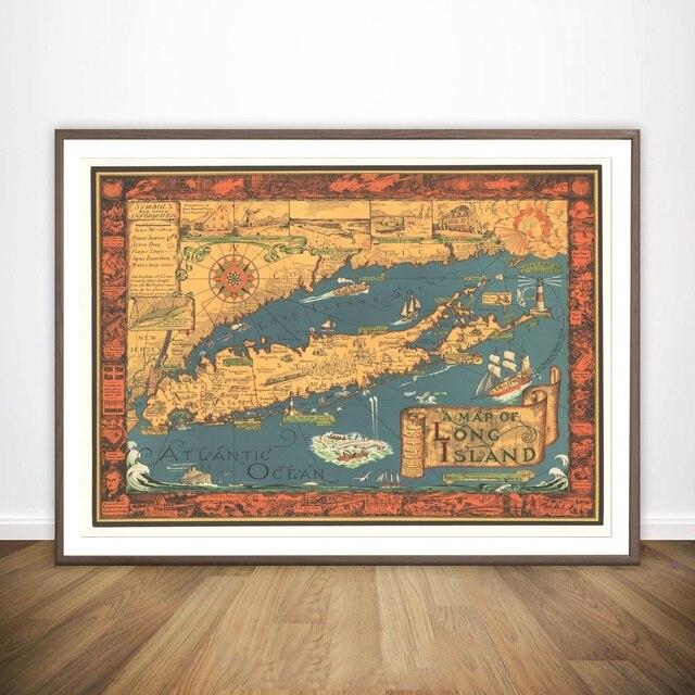 A Map of Long Island NY 1930s Historic Wall Map Wall Art Paint Wall ...