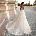 Dubai Vestido de Novia 2017 Scoop Una Línea de Encaje de Ver A Través de princesa Vestidos de Novia de La Correa de La Vendimia vestidos de novia Por Encargo de lujo