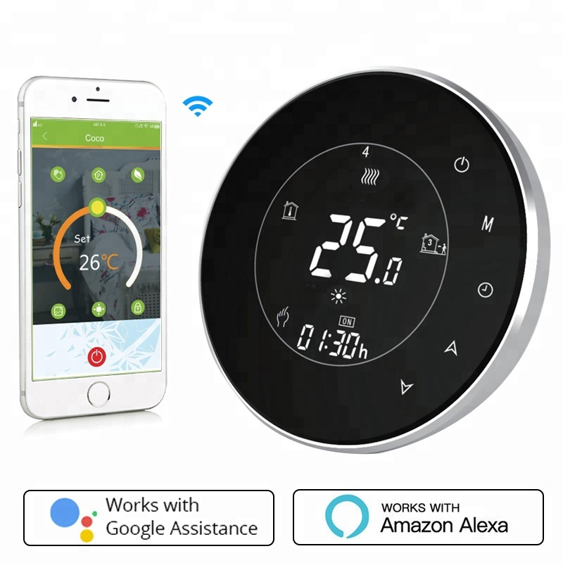 BHT-6000-GCLW Water/Gas Boiler Thermostat Backlight WIFI 5A Weekly Programmable LCD Touch Screen Works With Alexa Google Home