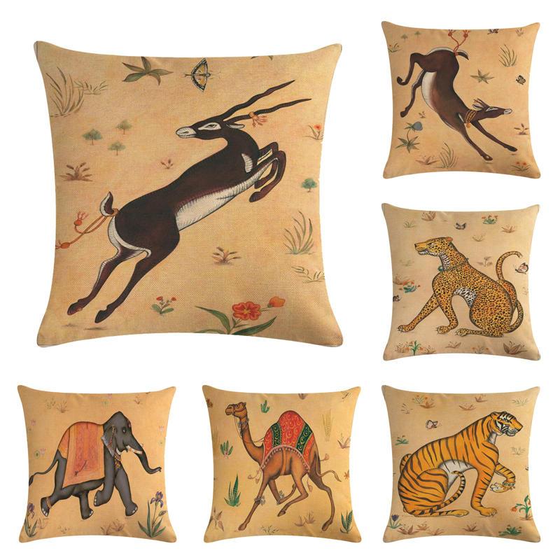Yellow Bottom Animal Pattern Homerdecor Cushion Cover Throw Pillowcase Pillow Covers 45 Cushion Cover 45cm Sofa Seat Cushion Decorative