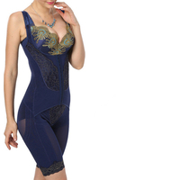 M-4XL Firm Full Body Shaper Bamboo Waist Trainer Slimming Corsets Women Bodysuit Gold Lace Bra Up Shapewear Plus size XXXXL
