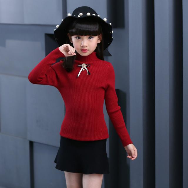 Força Sem Forro Vestuário das crianças Menina Inverno Metade Liderança Knitting Renderização Sem Forro Vestuário Superior Camisola Caçoa a Roupa
