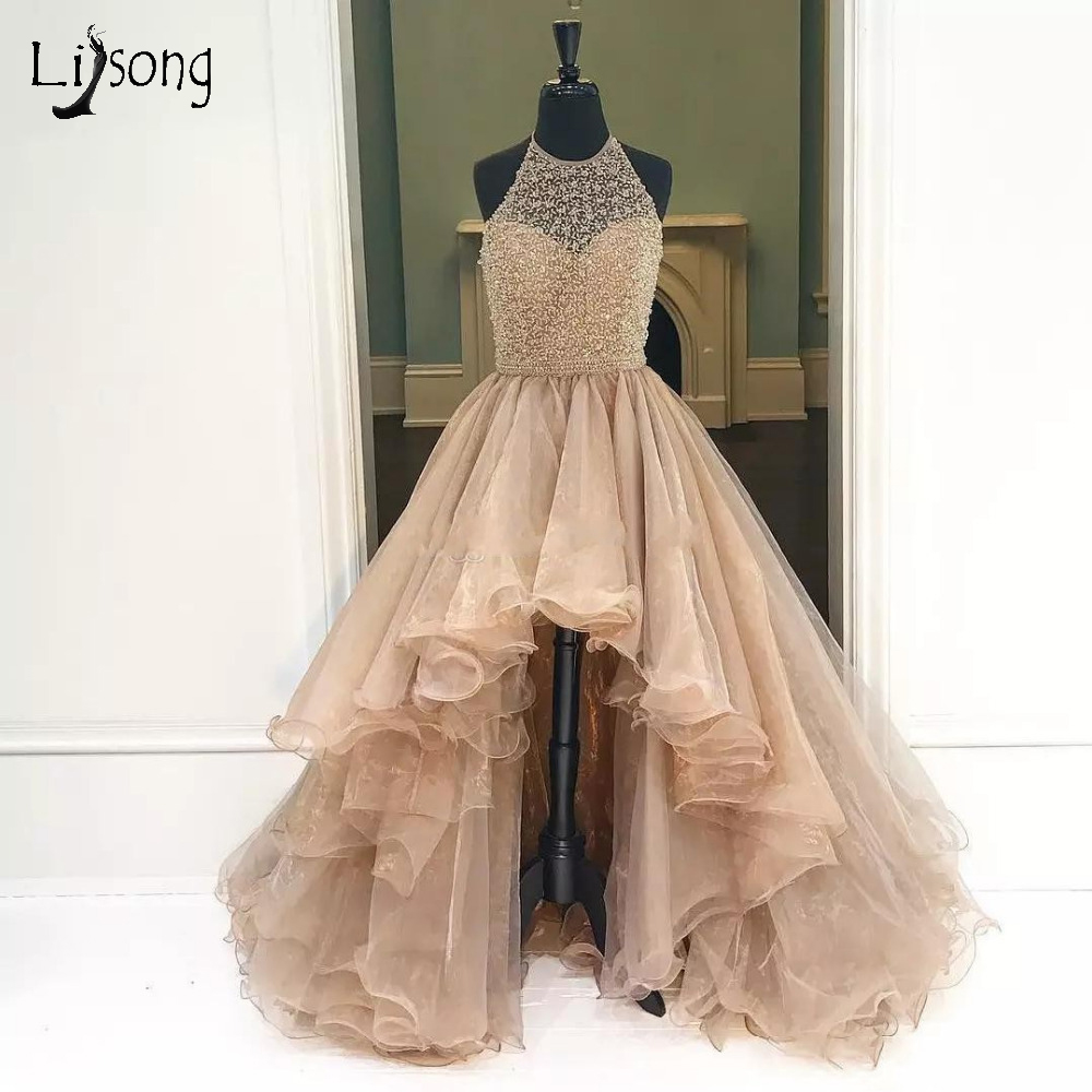 Champagne High Low Beaded Long   Evening     Dresses   Luxury Beaded Ruffles Formal   Evening   Gowns Halter Sexy Backless Abendkleider