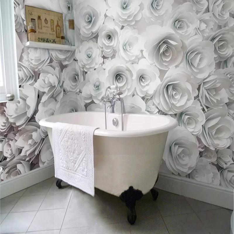 Modern Simple White Rose Mural Wallpapers 3D PVC Self-Adhesive Waterproof Photo Wall Paper Bathroom Living Room Background Wall