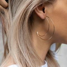 Minimalism Large Hollow Crescent Moon Stud Earrings For Women Fashion Jewelry