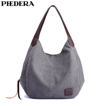 PHEDERA New Arrival High Quality Canvas Women Shoulder Bags Handbag Casual Female Purse Bag 2019 Hot