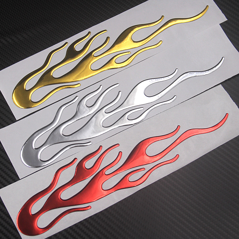 FASP 3D Wind Tail Motorcycle Magic Flame Sticker Decal Emblem Label Badge Decor  Decorative Gold Silver Red