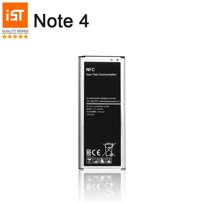 100% ist batería original del teléfono móvil para Samsung Galaxy note 4 N910 N910C N910A N910V 3220 mAh incorporado NFC reemplazo batería