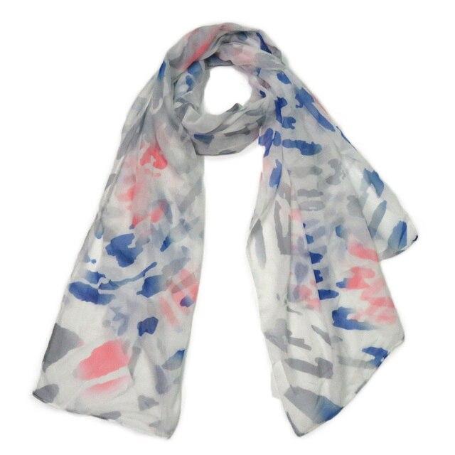 Scarf For Women Bandana Shawl Wrap White Blue Chinese Painting Style