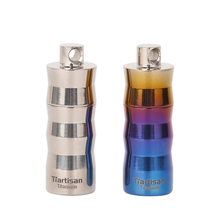 Ti artisan outdoor titanium alloy mini waterproof pill seal warehouse perfume sealed warehouse, can be hung around the neck