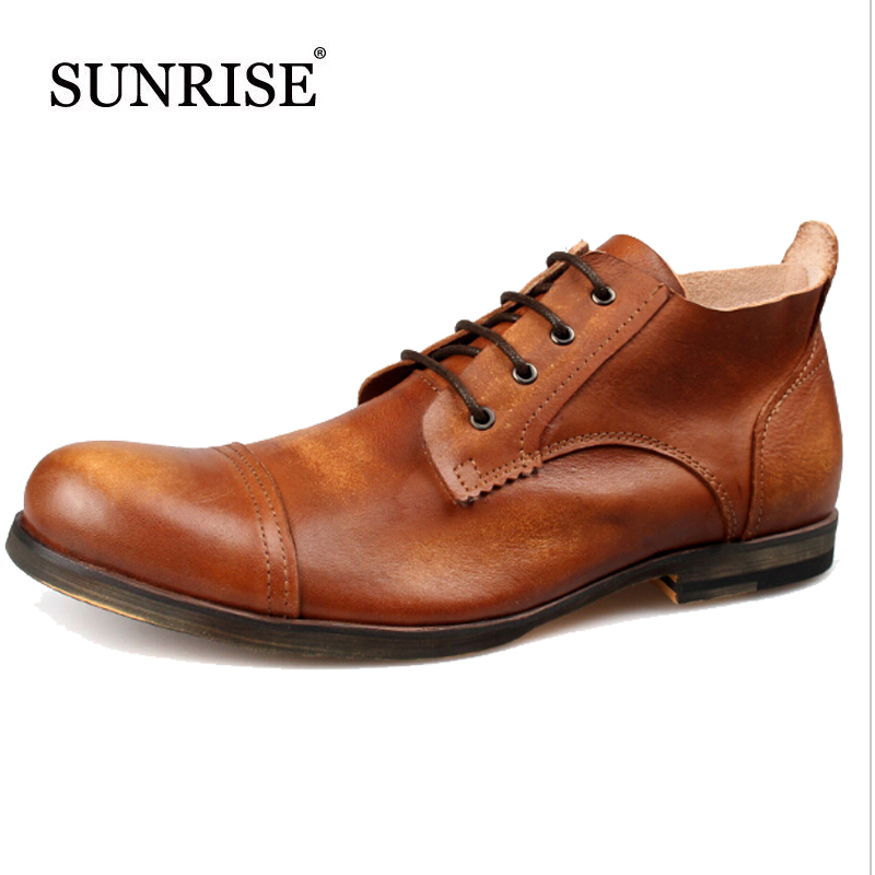 ФОТО Top Quality Man Oxfords Shoes Genuine Leather Flats Men's Shoes Men Dress Shoes Retro Winter Leather Shoes Business Ankle  Boots