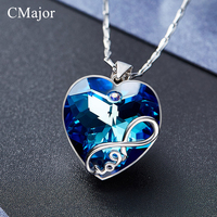 CMajor Unique Design Fashion Jewelry Chic Heart Pendant Necklace With LOVE Blue Crystal Necklaces For Women Best Sweet Gift