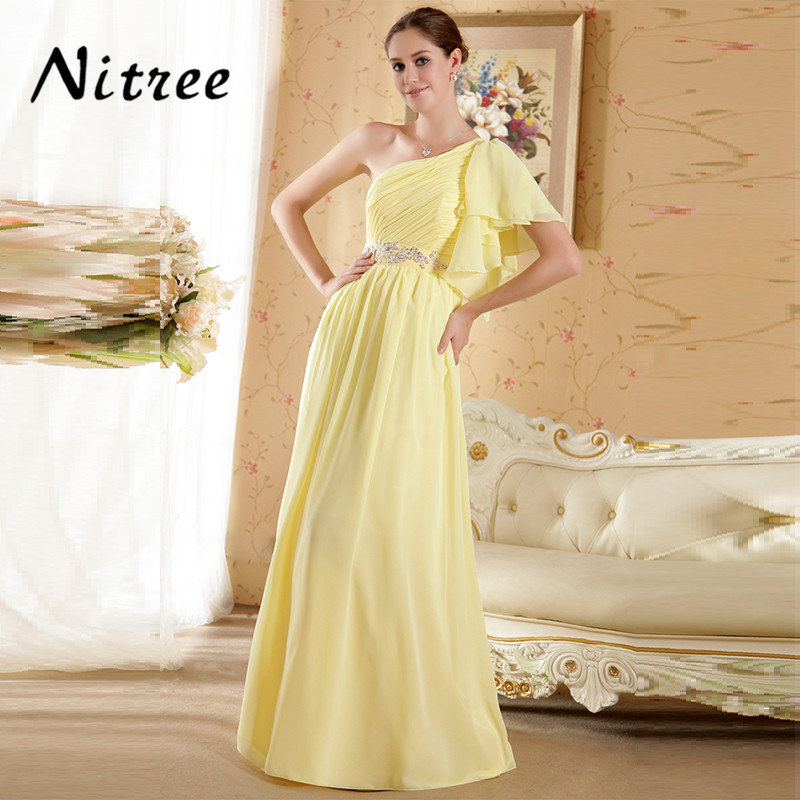 Robe De Soiree Yellow Chiffon Long Formal Evening Dresses Prom Gowns