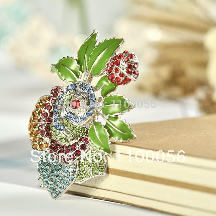 Free Shipping 2019 5 Fashion Jewelry Colored Flower Brooch Cheap Wedding Crystal Enamel Bouquet Poppy Broches X0979