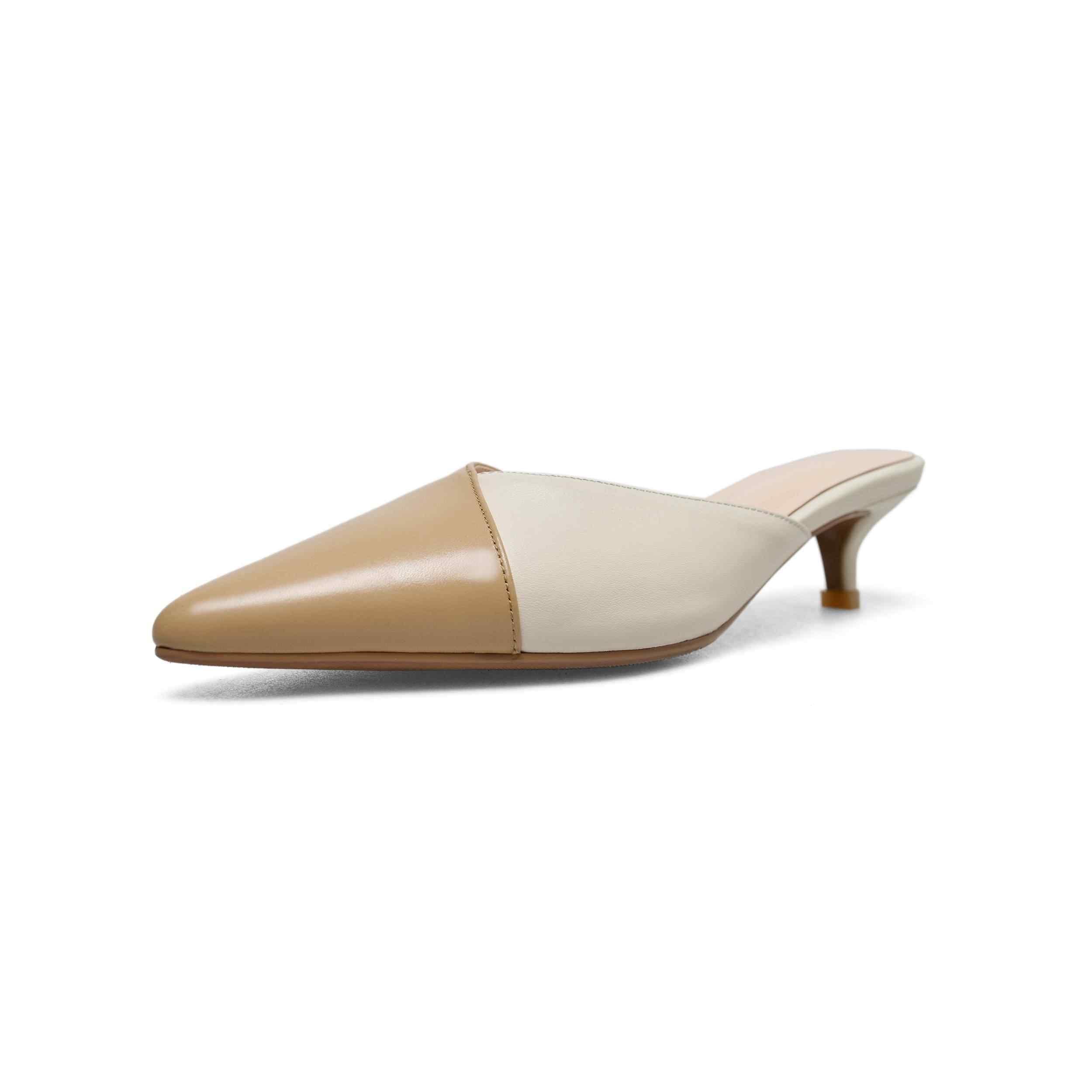 Lenksien più nuovo genuine slip in pelle su muli sottile med tacchi punta a punta pompe delle donne di estate di colore misto elegante oxford scarpe l93