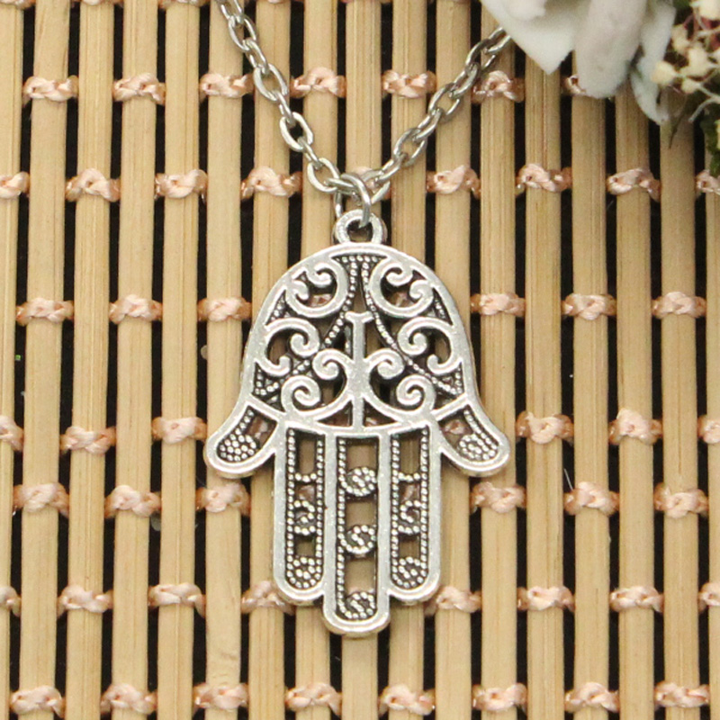 Jewelry & Accessories New Fashion Hamsa Palm Protection 35x24mm Pendants Round Cross Chain Short Long Mens Womens Diy Silver Necklace Jewelry Gift To Win Warm Praise From Customers Necklaces & Pendants