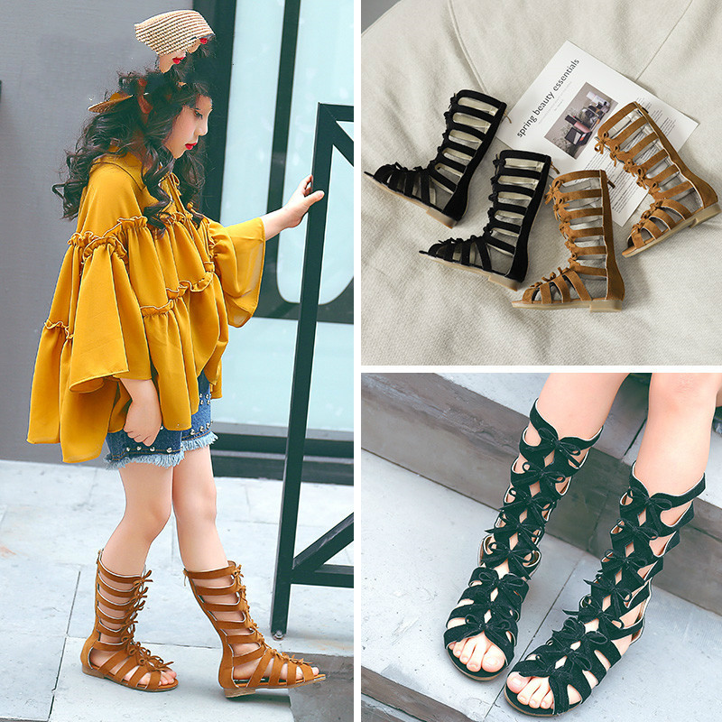 Summer Shoes Crochet Girls Fashion New Black And Pu Orange-Color Vintage