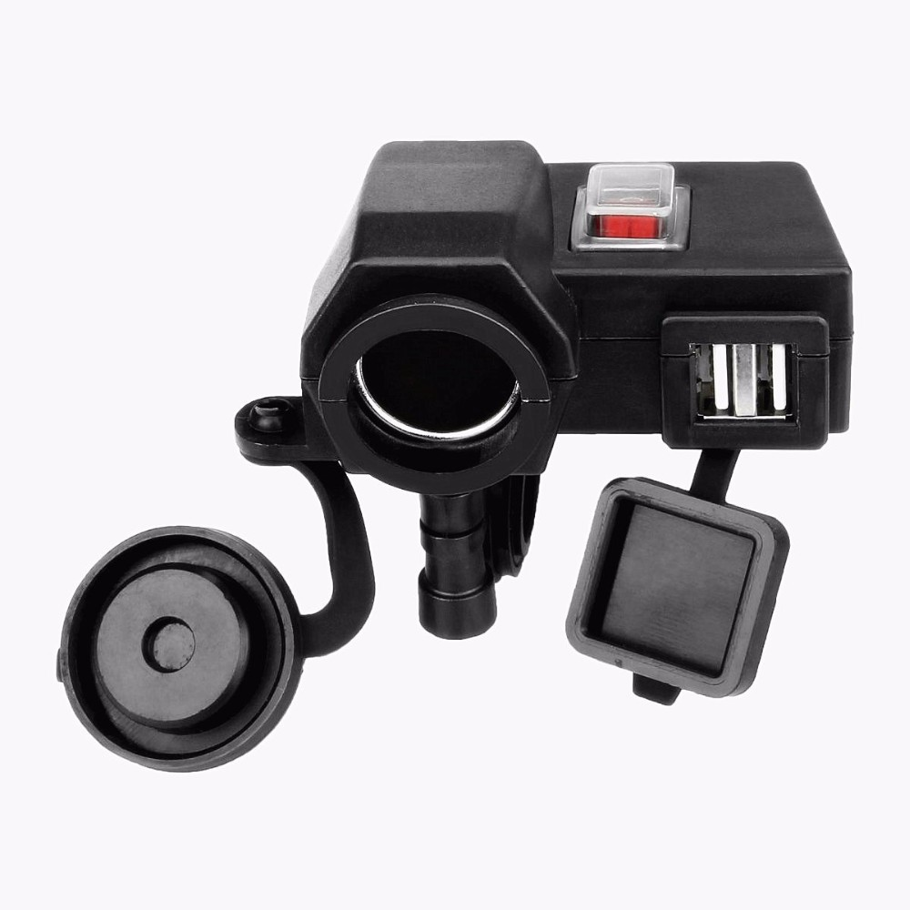 Waterproof Smart 5V/2.1A Dual USB Output Motorcycle Handlebar Clamp Power Adapter Charger USB Charging System with Switch