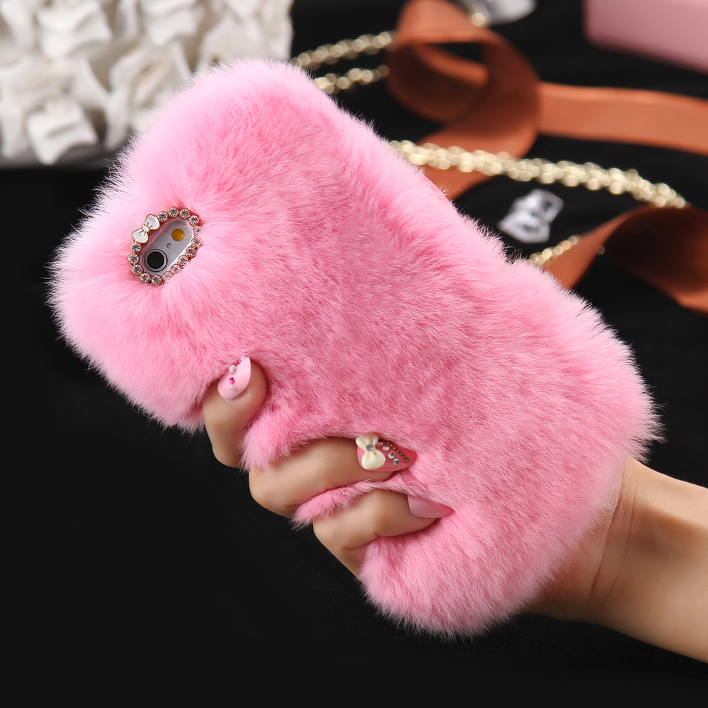online store 88a23 3fb7f US $10.99 45% OFF|Top Genuine Rabbit Fur Case For LG G3 G4 G5 V10 K7 K8 K10  Fuzzy Hair capas para Cute Rhinestone Luxury Phone Funda Capa-in Fitted ...