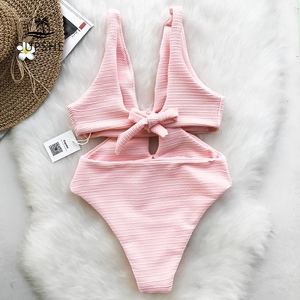 Image 2 - CUPSHE Pink Shine For U Solid One piece Swimsuit Women V neck Bow Hollow out Plain Monokini 2020 Girl Beach Cute Swimwear