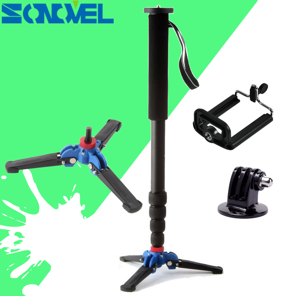 Manbily C 222 Carbon Fiber Camera Monopod With 3 Legs Stand Base 3/8screw Professional Mini Tripod For Canon Nikon Gopro Phone
