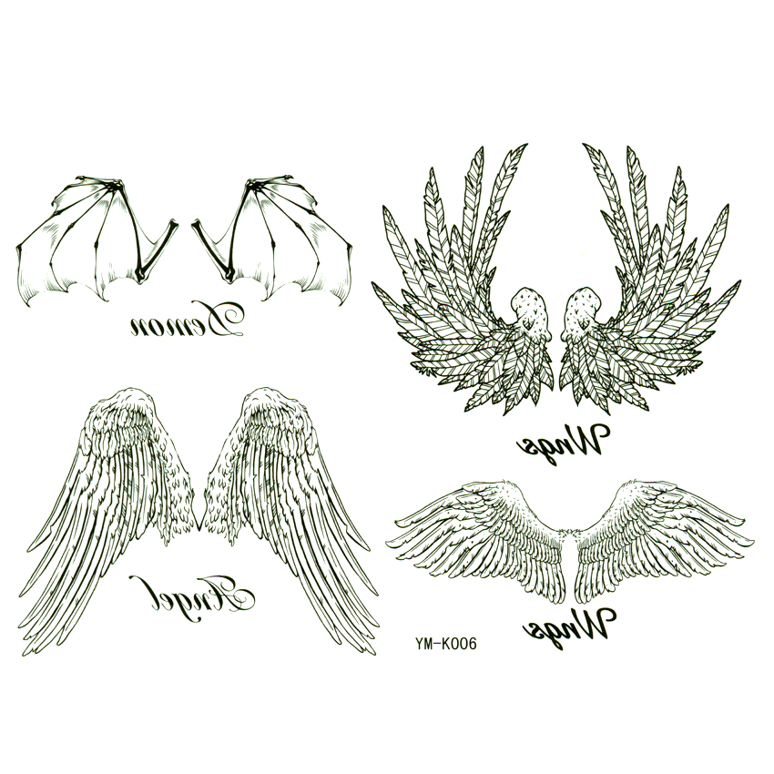Angel Wings Waterproof Temporary Tattoos Stickers  Men And Women Neck Back And Arm Tatoo Taty Henna Metallic Tattoo