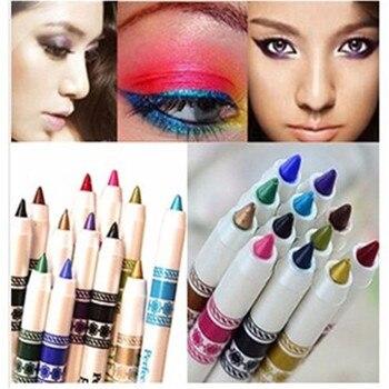 цена на New Hot Sale 12 Color Glitter Lip liner Eye Shadow eye liner Pencil Pen Cosmetic Makeup Set