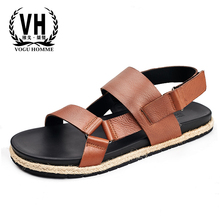 Roman sandals mens dermis summer breathable beach shoes slippery casual men designers Genuine Leather