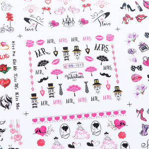 Image 5 - 12pcs Romantic Valentines Water Decals Sliders Nail Art Decorations Stickers Sexy Lips Flower Heart Tattoo Wraps JIBN1069 1080