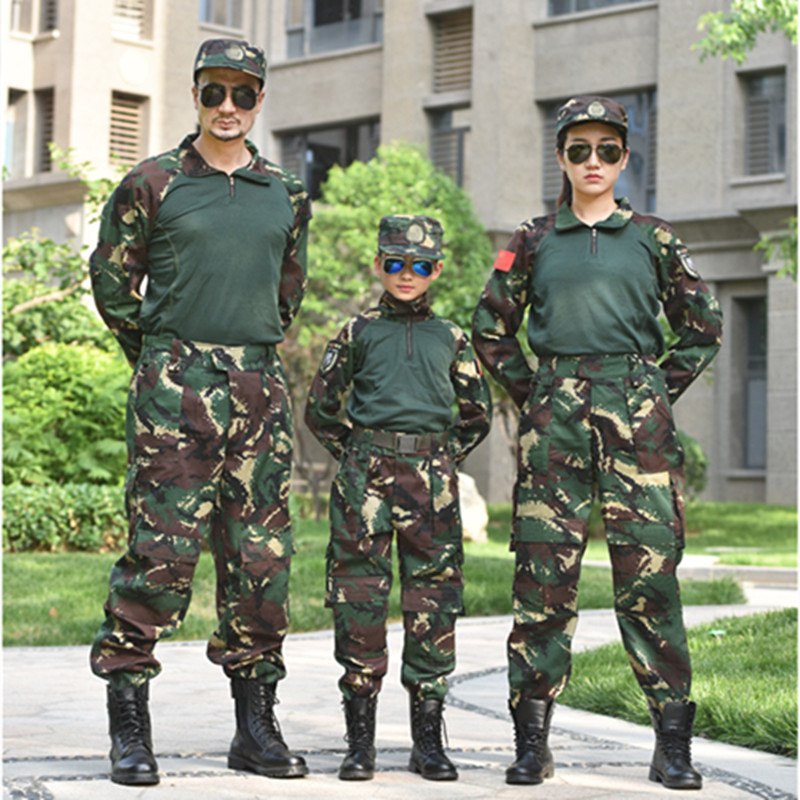 2pcs Children Teenager Boys Girls Special Forces Camouflage Military Uniform Training Tactical Costumes Desert Combat Army Suit image