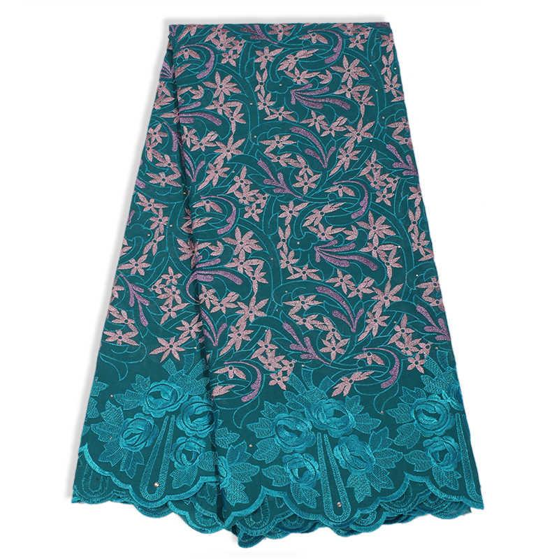 Последняя фиолетовая хлопковая швейцарская кружевная африканская вуаль вышитая Цветочная швейцарская ткань женское платье швейная отделка 5 ярдов ткань кружева