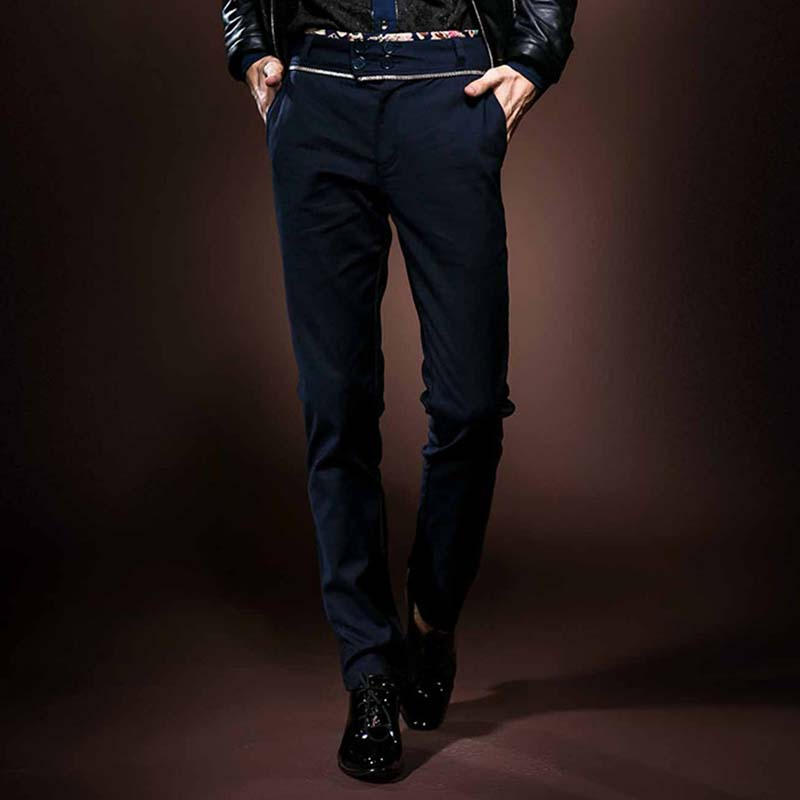 FANZHUAN Brands Clothing New Arrival Mens Casual Business Pant Stretch trousers regular Straight Pant Blue Mens casual pants
