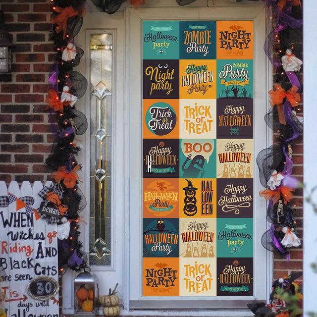 Funlife 200x77cm 2pc set self adhesive pvc door sticker halloween logo large wall glass