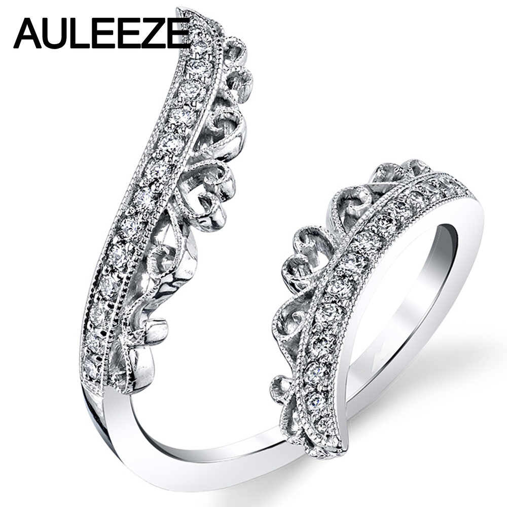 ornate filigree open ring natural africa real diamond wedding bands for women 14k solid white gold engagement ring anniversary