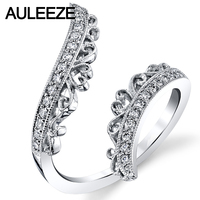 פיליגרן מקושט טבעית טבעת פתוחה אפריקה להקות אמיתי יהלומי חתונת טבעת האירוסין יום הנישואין לנשים 14 K זהב לבן מוצק