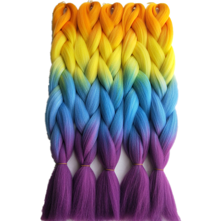 1pack 24inch 65cm Pervado Hair Rainbow Yellow Orange Blue