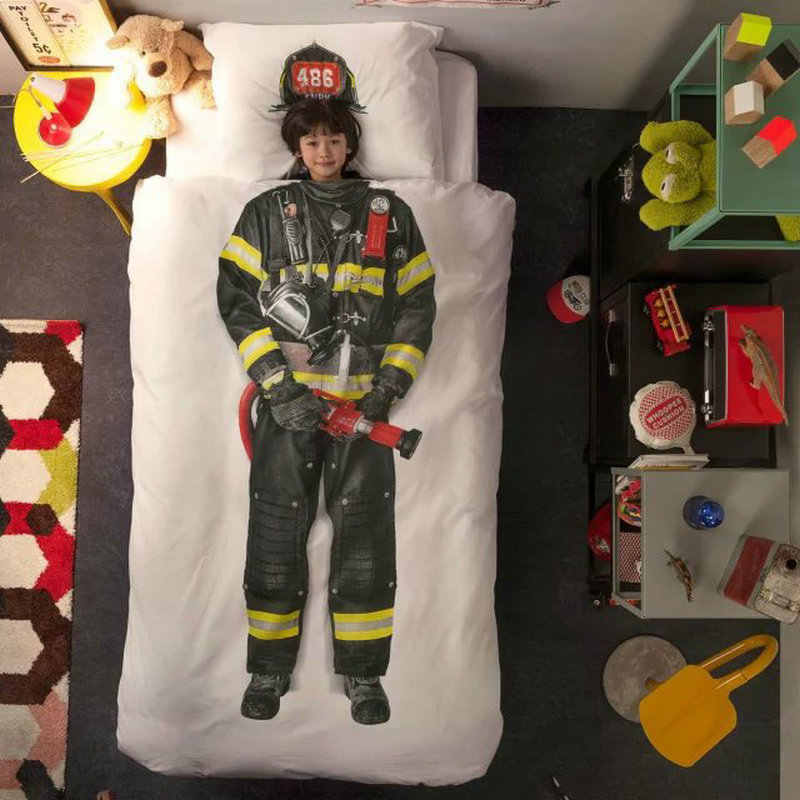 5601 3D bedding set students children use fireman astronaut ballet knight pictures full twin queen size firemen brigade