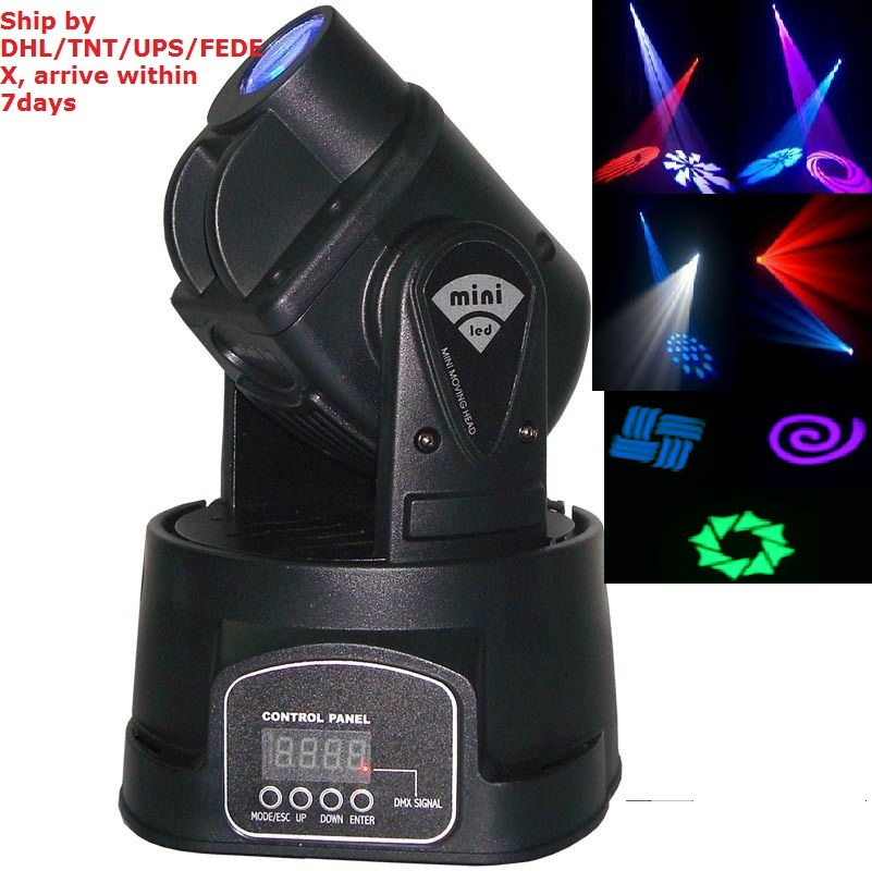 DHL Free High Quality LED Mini moving head beam spot lights 15W DJ stage home party power 20W multi-color change DMX controllerDHL Free High Quality LED Mini moving head beam spot lights 15W DJ stage home party power 20W multi-color change DMX controller