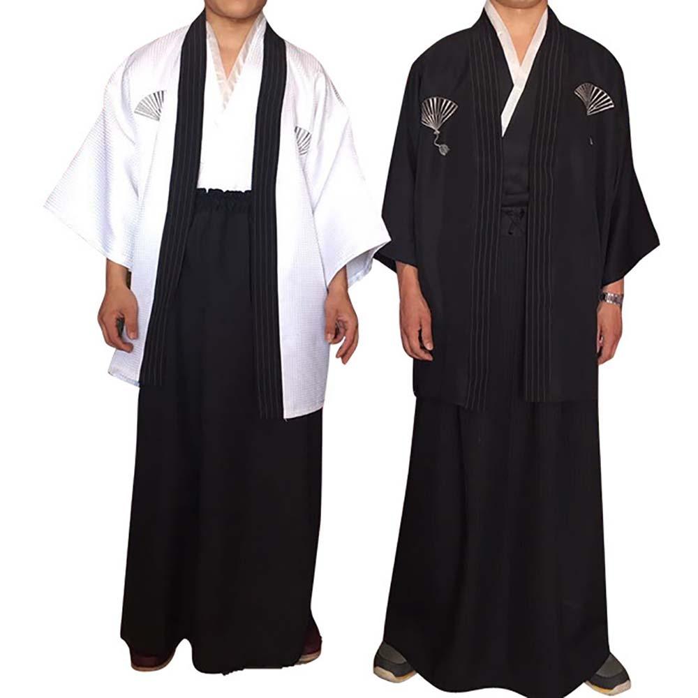 Adult Japanese Traditional Samurai Kimono Warrior Robe Hakama Pants Outfit Ancient Swordman Roleplay Halloween Costumes for Men