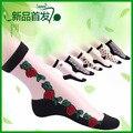 Corea del Auténtico deer crystal calcetines calcetines de lana de vidrio Transparente rosas corto femenino chun xia calcetines delgada