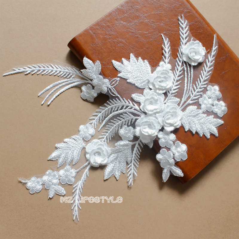 32 * 25cm off white beautiful 3D flower feathers Applique Headwear embroidery lace trims Wedding Dress Garment Accessories