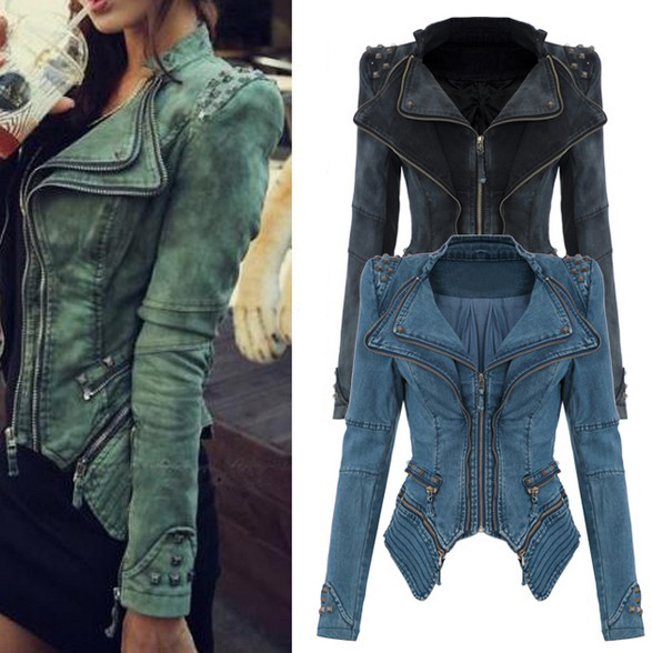 Original Womens Sharp Power Punk Studded Shoulder Rivets Motorcycle Notched Lapel Denim Jeans Tuxedo Coat Jacket Outerwear Plus