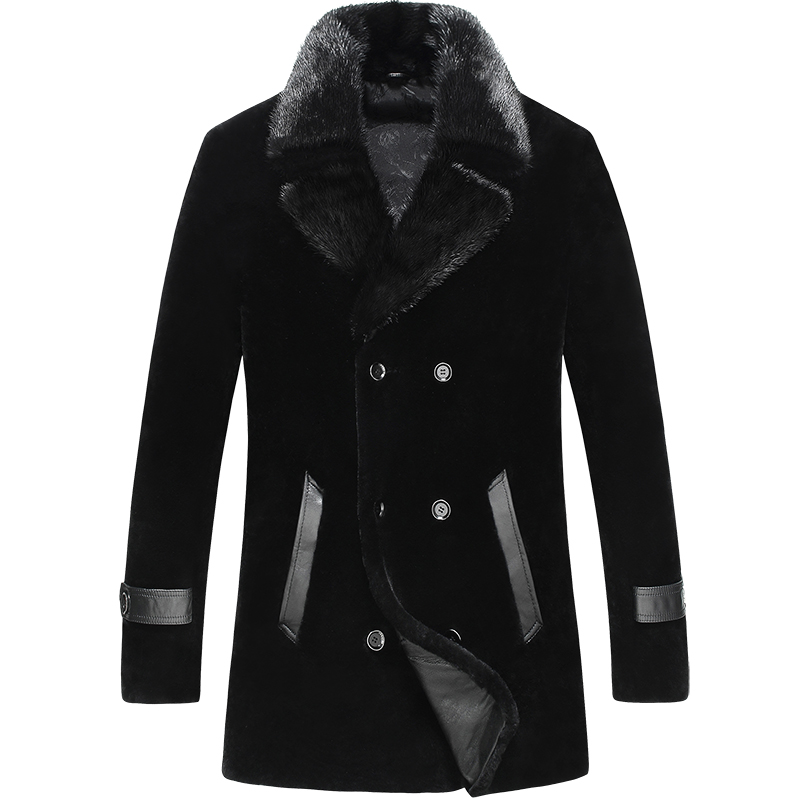 100% Real cashmere Men Winter Real Mink Fur Collar Genuine Leather Long Coat Parkas Double-breasted Overcoat Warm Plus Size
